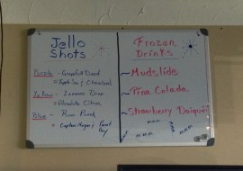 Yes, that IS a menu of Jello Shots you see!