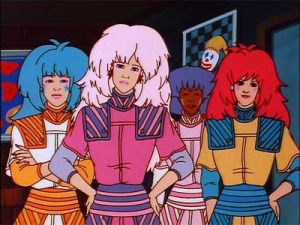 Big hair and bold fashion taste. Why the frown, Jem?
